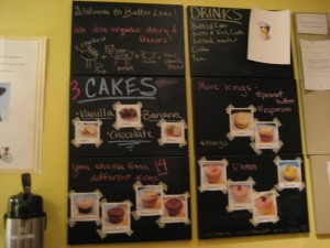The cake and icing menu.