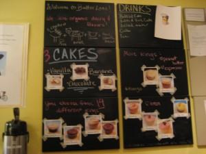 The cake and icing menu.